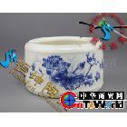 创意时尚烟缸收纳陶瓷烟灰缸圆形烟灰缸荷塘夜色(图)