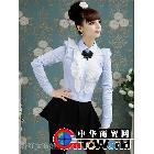 2012新款春装蓝白细条纹荷叶边压褶泡泡长袖衬衫650