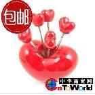 创意家居 爱心水果叉 /水果叉子/心形 餐具 红心水果叉